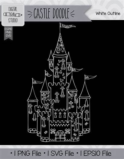 Castle Drawn Princess Hand Draw Thehungryjpeg Cart