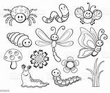 Bug Coloring Cartoon Cute Line Vector Illustration Insect Butterfly Bee Fly Dragonfly Phenomenon Fire Natural Istockphoto sketch template