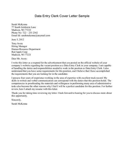 cover letter clerk sle office for general data entry