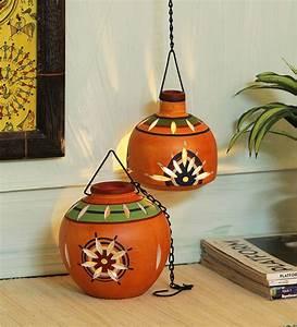 Buy, Orange, Terracotta, Hanging, Tea, Light, Holder, Set, Of, 2, By, Vareesha, Online