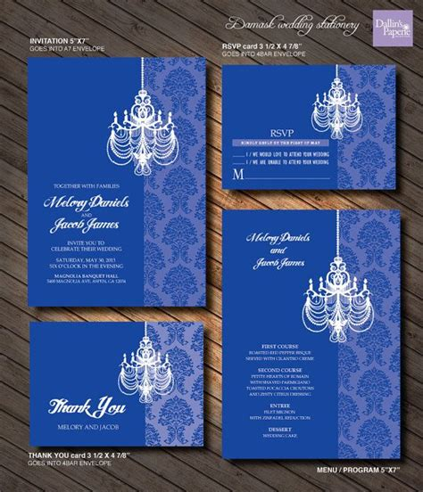 Royal Blue Chandelier Wedding Invitation