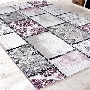 Teppich Lila Grau : edler designer teppich patchwork vintage look teppich meliert in lila creme wohn und ~ Orissabook.com Haus und Dekorationen