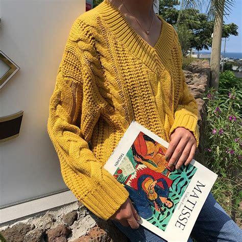 itgirl shop  neck oversized braids knit yellow black