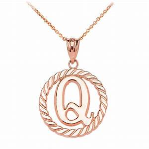 rope circle letter q pendant necklace in 9ct rose gold With letter q necklace