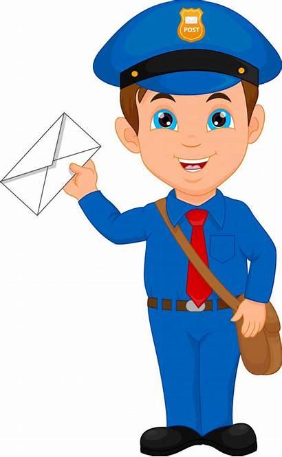 Postman Mailman Cartoon Mail Vector Holding Clipart