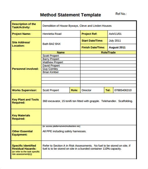 template method 10 method statement templates pdf word sle templates