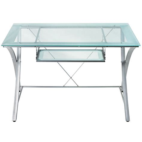 office depot glass computer desk realspace zentra computer desk silverclear by office depot