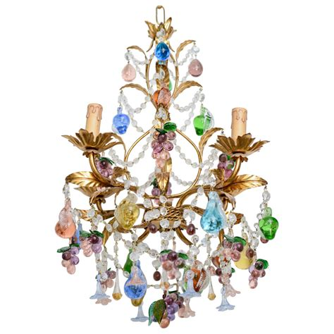 vintage blown multi colored murano chandelier for