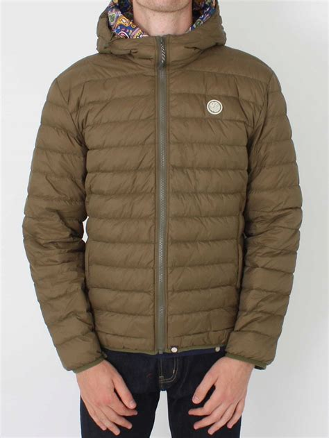 pretty green barker quilted hooded jacket  khaki northern threads