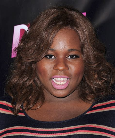 alex newell medium wavy casual hairstyle chocolate