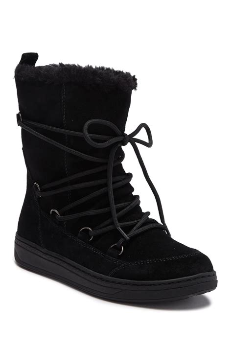 earth zodiac water resistant suede faux fur lined boot  black lyst
