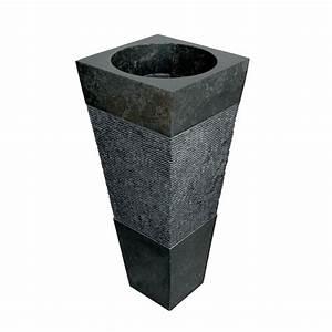Lavabo En Pierre Naturelle : lavabo colonne pyramidal en pierre naturelle noir mod le nias ~ Premium-room.com Idées de Décoration