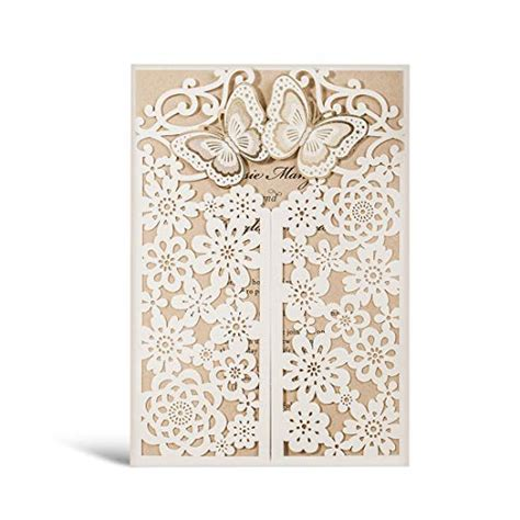 WISHMADE 3D Butterfly Wedding Invitations with RSVP Cards