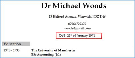 Dob On Resume by Picture Shows The Date Of Birth Of An Applicant On On Their Cv