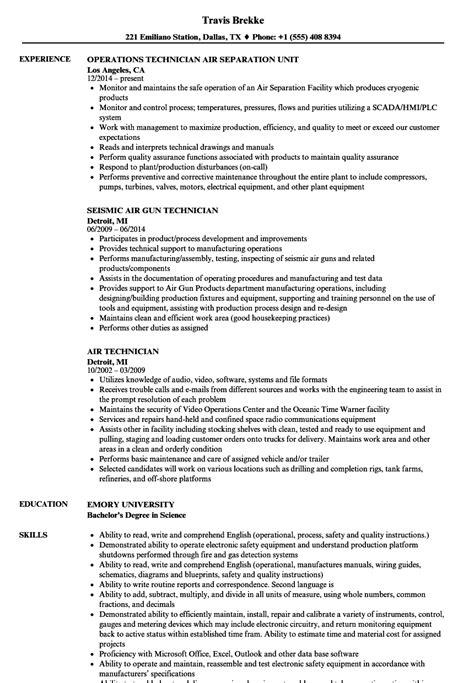 Air Resume air technician resume sles velvet