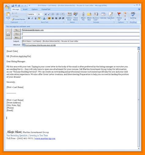 sending resume email sample writing  memo