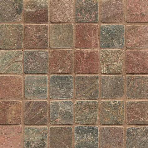 tilecrest slate mosaic 2 x 2 copper tumbled