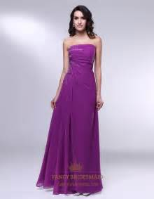 violet purple prom dresses strapless floor length chiffon