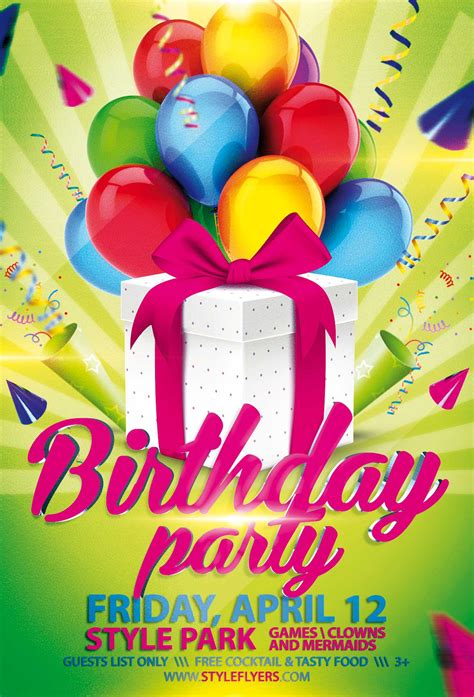 Birthday Party PSD Flyer Template with animated fully