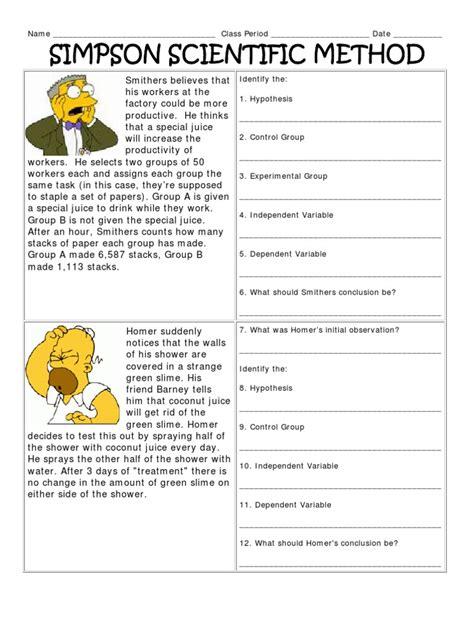 simpsons scientific method worksheet free printables