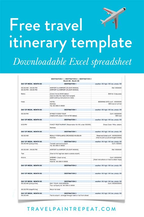 itinerary template the travel itinerary template i use to plan all my trips free travel paint repeat