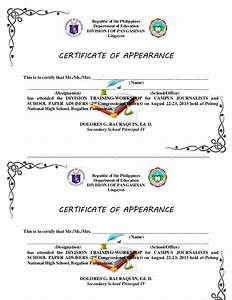 certificate of appearance letter sample image collections With certificate of appearance template