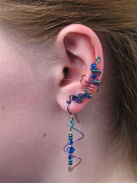 space age niobium full length ear cuff set  matching