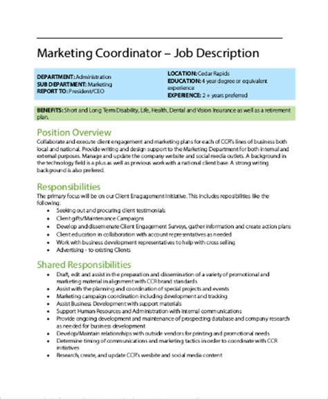 Marketing Coordinator Description And Duties by Sle Coordinator Description 9 Exles In Pdf Word
