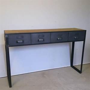 Console D Entrée Blanche : console style industriel avec tiroirs sur mesure fabriqu e notre atelier ~ Voncanada.com Idées de Décoration