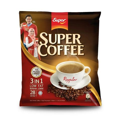 Regular coffee presents you with coffee that is better than your average regular. EAN 8888240000040 - Super Coffee 3 In 1 Regular Low Fat Instant Coffee Halal 28s X 20g - 1 Pack ...