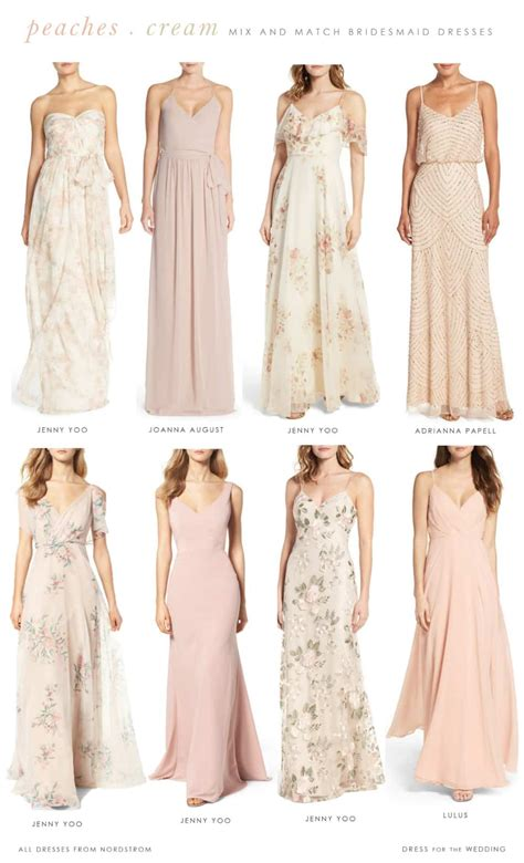Floral Peach Blush And Cream Bridesmaid Dresses To Mix