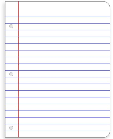 notebook paper template png  notebook paper template