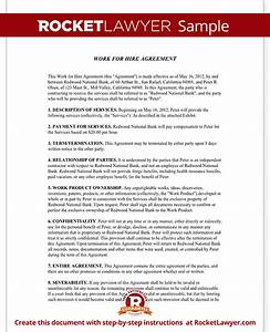 Work for hire agreement rocket lawyer for Sample work for hire agreement template