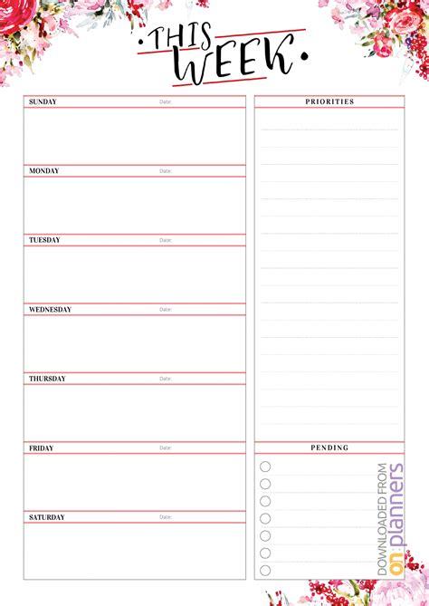 Loving this free printable calendar 2021? Download Printable Weekly Planner with Priorities PDF