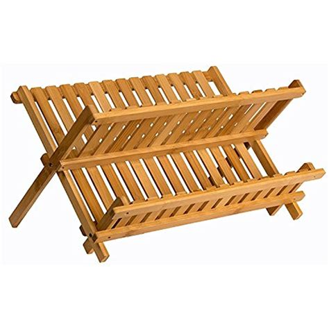 sagler wooden dish rack plate collapsible compact drying bamboo drainer kitchen  ebay