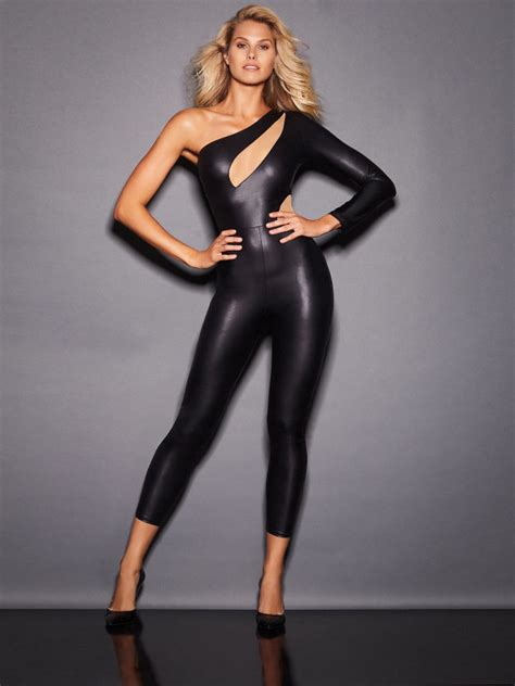 kayleigh asymmetric  shoulder faux leather catsuit