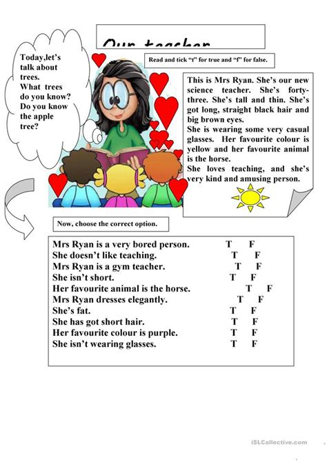 Our Teacher Reading Comprehension Worksheet  Free Esl Printable Worksheets Made By Teachers