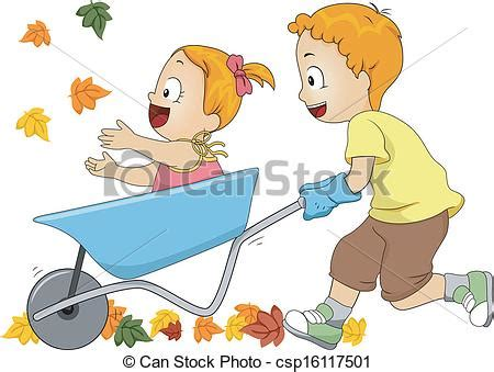 clipart autunno autunno carriola foglie illustrazione correndo