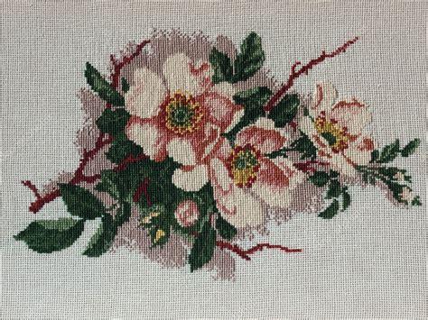 flowers cross stitch stock photo  vaster