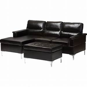 Kinsley 3 piece small sectional sofa with ottoman faux for 3 piece small sectional sofa