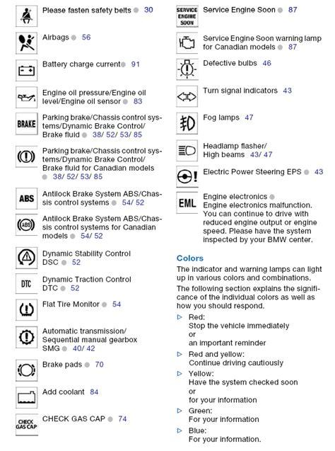 2006 Bmw 325i Dashboard Symbols