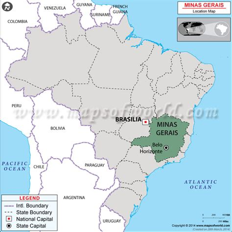 minas gerais located  brazil map