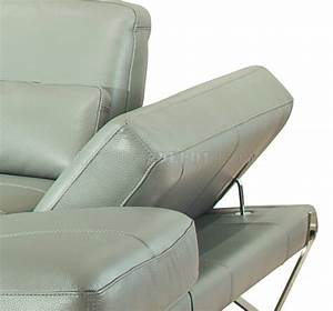 Grey full leather modern sectional sofa w steel legs for Sectional sofa metal legs