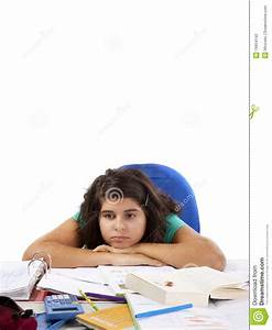 Bored Girl With A Lot Of Homework Stock Photography ...
