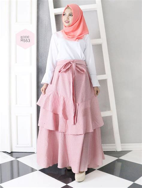 uniq ruffle skirt  baju hijab style ootd