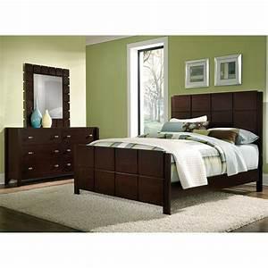 Mosaic 5 piece king bedroom set dark brown american for Bedroom set furniture