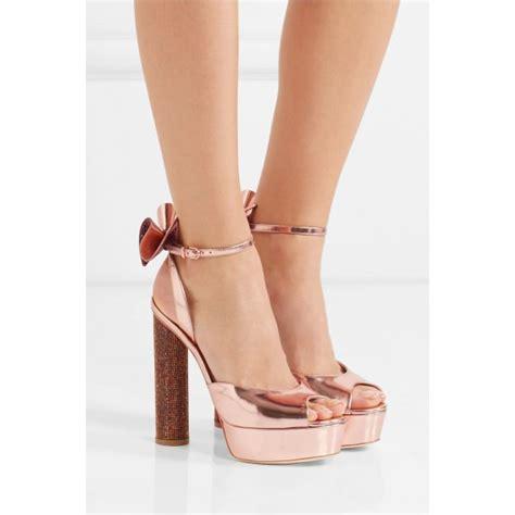 peep toe high heel boots gold shoes peep toe metallic ankle block heel