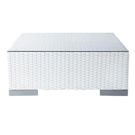 table basse de jardin en verre tremp 233 et r 233 sine tress 233 e blanche l 77 cm antibes maisons du monde