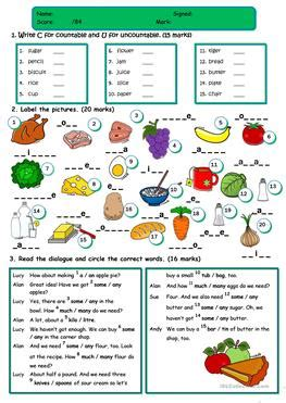 test cuisine 239 free esl countable and uncountable nouns worksheets