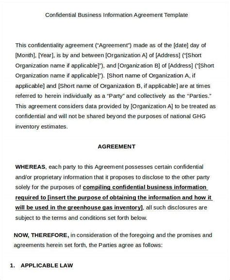 business agreement templates word pages